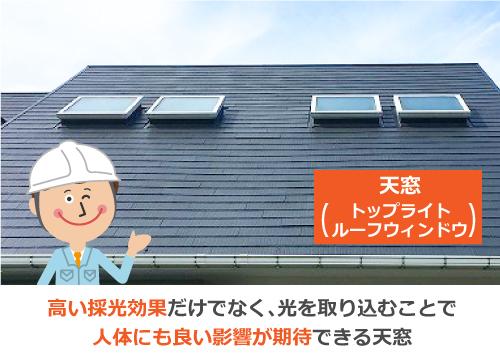 高い採光効果を期待できる天窓