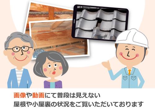 画像が動画にて普段は見えない屋根や小屋裏の状況をご覧いただいております