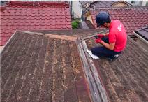 雨漏り箇所特定のための軒の現地調査の様子