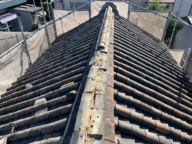 八尾市の蔵の屋根 施工中
