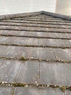苔の生えたセメントの平瓦