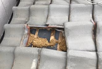 瓦が剥がれ防水紙が露出している