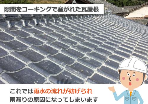 ラバーロック工法にて隙間を塞がれた瓦屋根