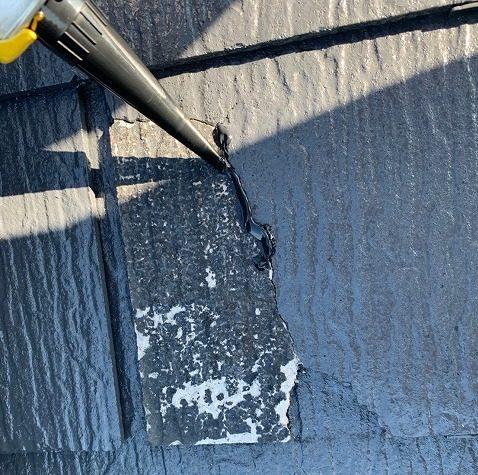 コーキングを使ったスレート屋根の補修