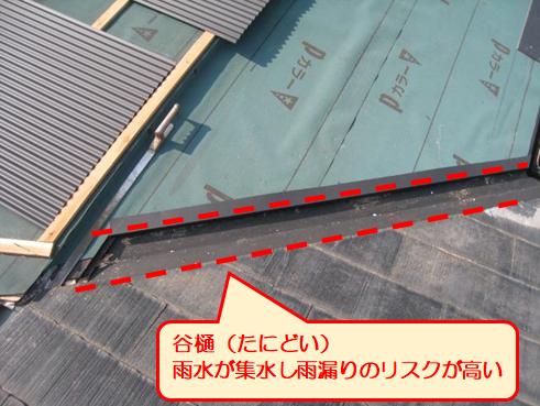 三島市雨漏り屋根カバー谷樋