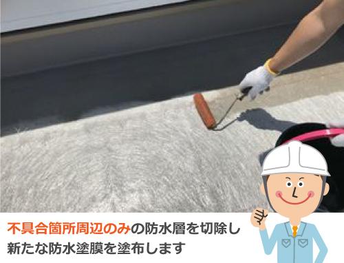 不具合箇所周辺のみの防水層を切除し新たな防水塗膜を塗布します