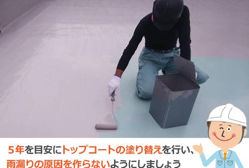 トップコートの塗り替え作業風景