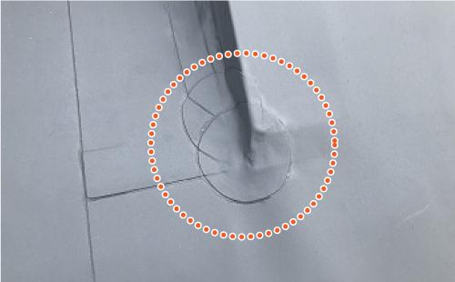 防水シートの破れ箇所のバッチ処理