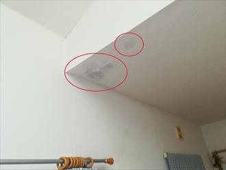 室内には雨漏りの跡がありました