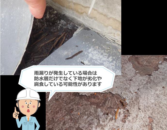 雨漏りが発生している場合は防水層だけでなく下地が劣化や腐食している可能性があります