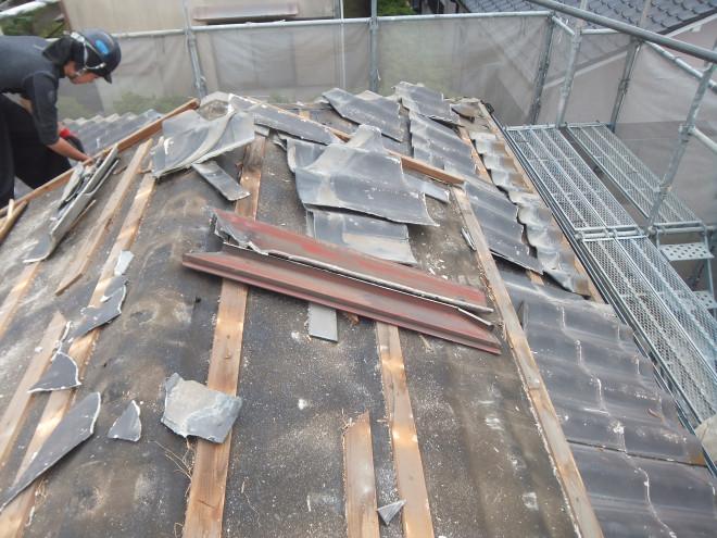 セメント瓦の撤去