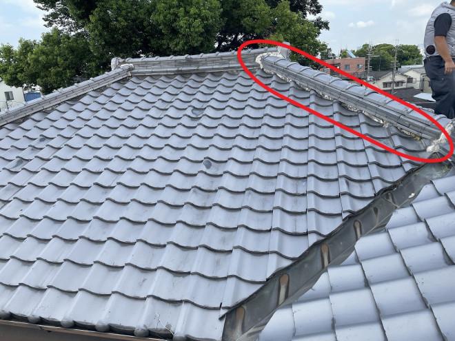 奈良市で寄棟屋根(よせむねやね)の面戸漆喰(めんどしっくい)の経年劣化の無料屋根点検!