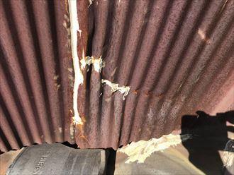 パラペット鋼板の錆び