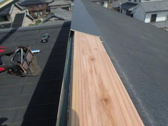 貫板を取り付けガルバリウム鋼板で覆い固定