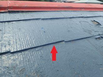 府中市府中町にて縁切りがされておらず毛細管現象による雨漏りを起こしてしまったスレート屋根を調査