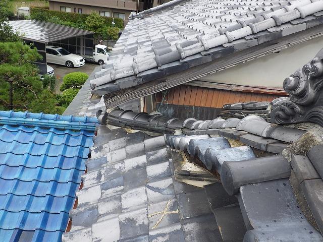 東大阪市にて、いぶし瓦葺き・入母屋屋根の雨漏り調査を行いました