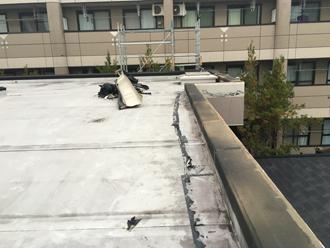 雨漏りが発生し笠木が外れてしまった陸屋根