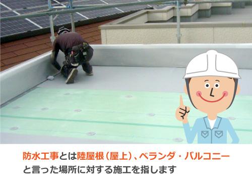 防水工事とは陸屋根(屋上)、ベランダ・バルコニーと言った場所に対する施工を指します