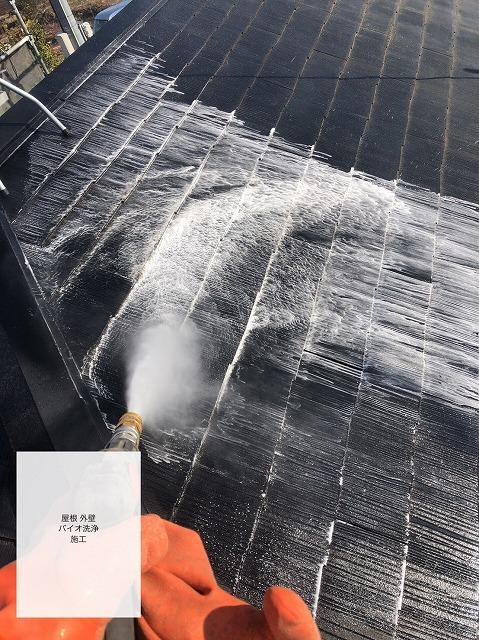 屋根を洗浄している様子
