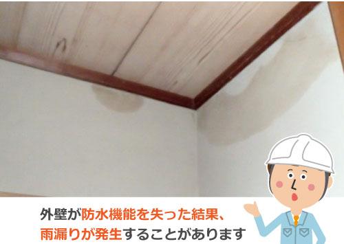 外壁が防水機能を失った結果、雨漏りが発生することがあります