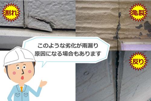 割れ、亀裂、反りが入った外壁