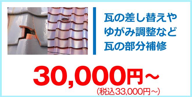 瓦の部分補修33,000円~