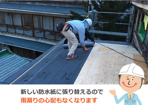 新しい防水紙に張り替えるので雨漏りの心配もなくなります