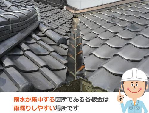 雨水が集中する箇所である谷板金は雨漏りしやすい場所です