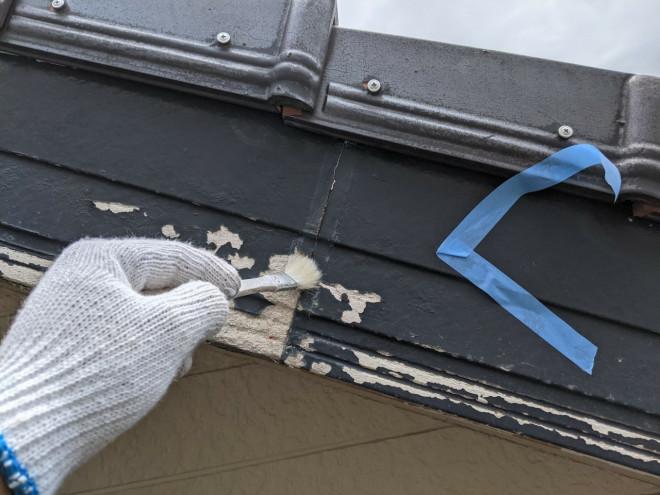 春日井市での破風板修理のプライマー塗り