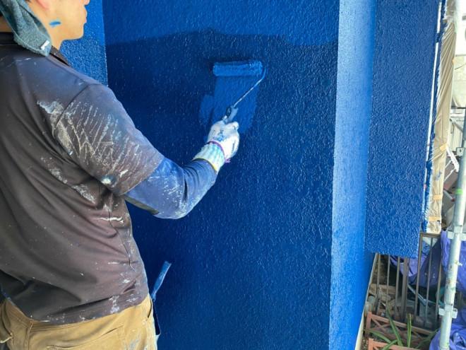 春日井市、外壁塗装、上塗り