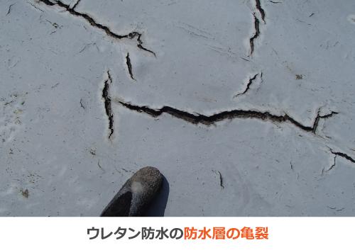 ウレタン防水の防水層の亀裂